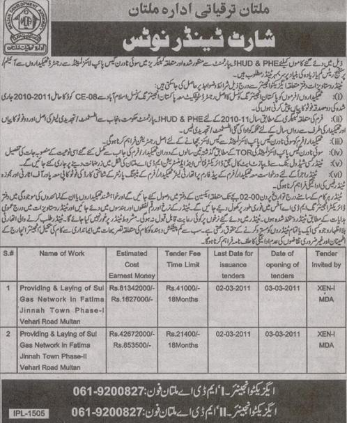 Sui Gas Tanders for Fatima Jinnah Town Multan Phase 1 & 2 - Nawaiwaqt Feb 15, 2011