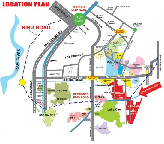 Khyaban e Amin Housing Scheme Lahore (Location Plan)