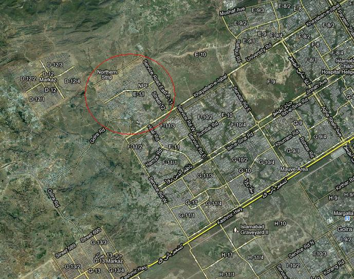 Location Satellite Map Sector E-11 Islamabad