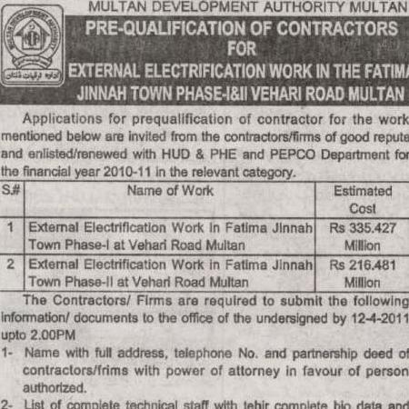 MDA invites Application for Pre-qualification of contractors for Electricity Work in Fatima Jinnah Town Multan