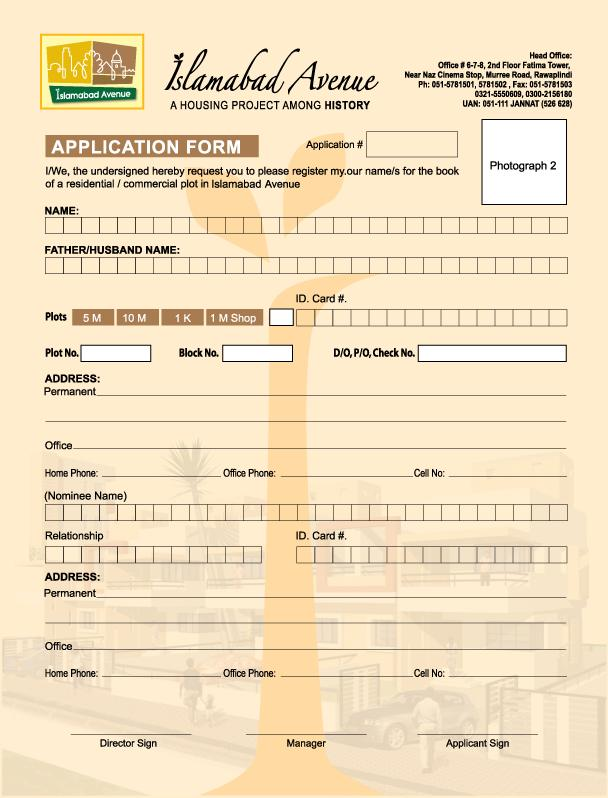 Islamabad Avenue Housing Project – Application Form | Real Estate ...