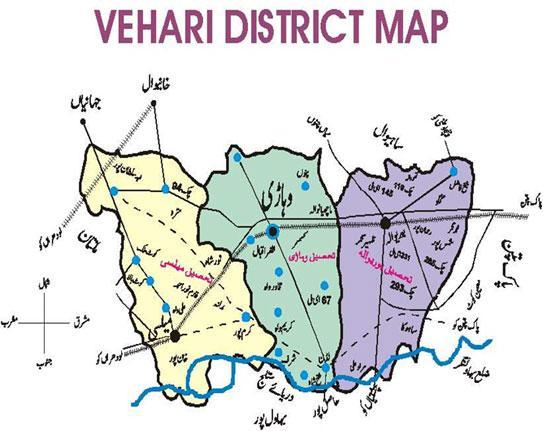 Vehari District Map - Burewala Tehsil, Mailsi Tehsil & Vehari Tehsil