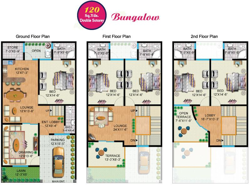 Rainbow sweet homes 120 sq yards double storey bungalow internal plan real estate housing House map drawing