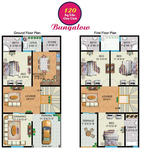 120 Sq Yards (One Unit) Bungalow