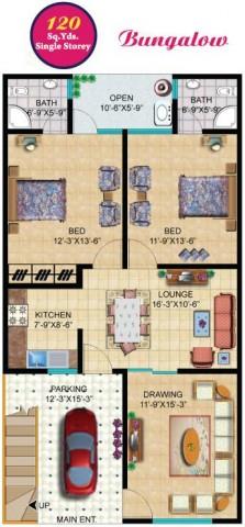 Rainbow sweet homes 120 sq yards single storey for 120 square yards floor plan