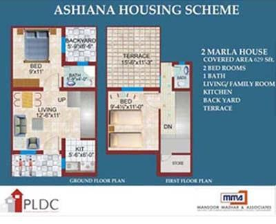 Ashiana Housing, 2 & 3 Marla Houses – Layout Plans or Drawing Maps ...