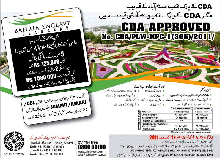 Bahria Enclave Islamabad Plot Prices