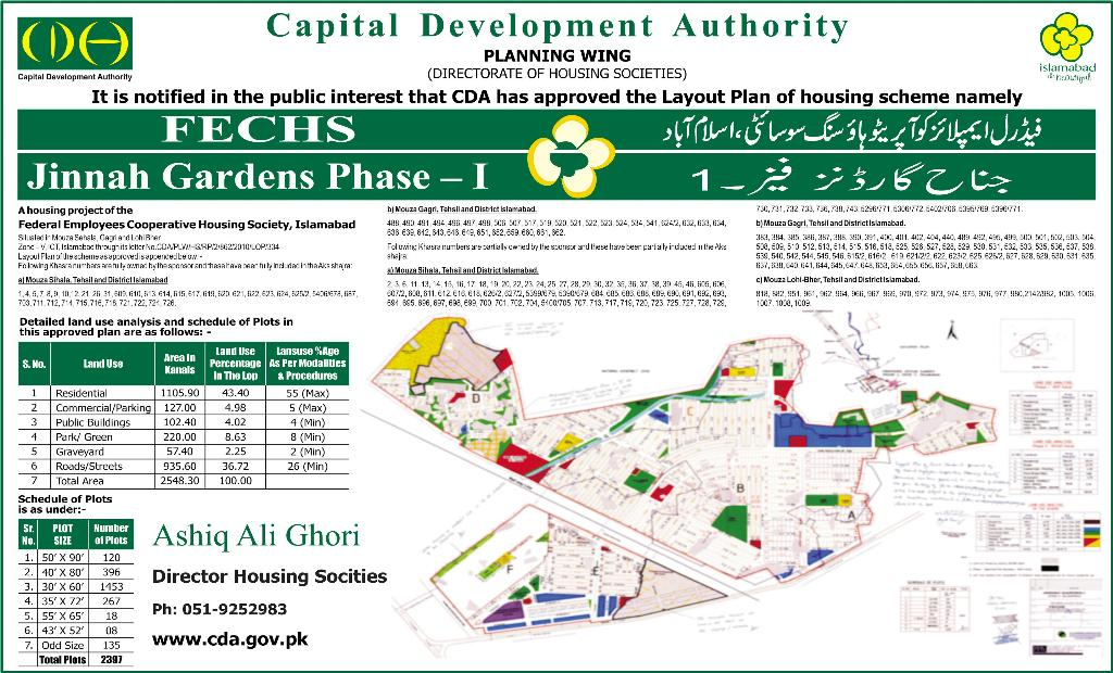CDA Approved Layout Plan of FECHS Jinnah Gardens Phase 1