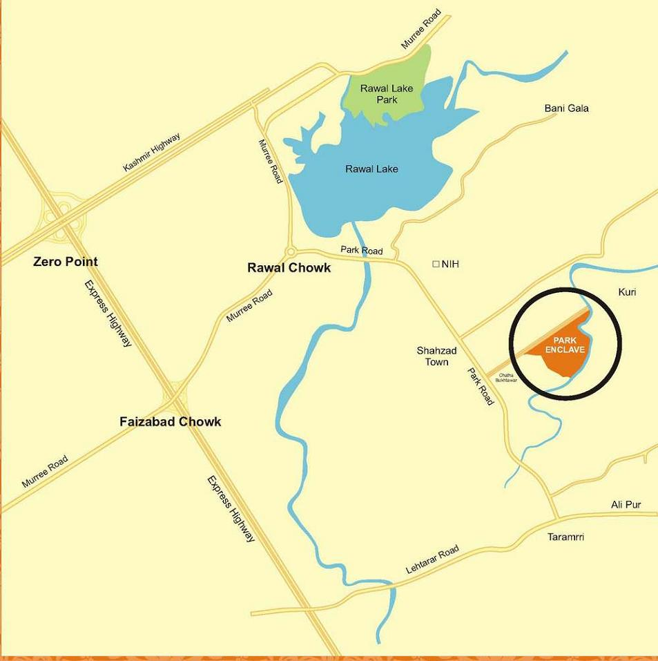 Park Enclave Islamabad - Location Map or plan