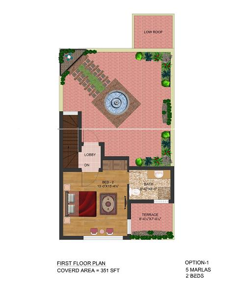 First Floor Plan 5 Marla Ground floor 2beds – Park view villas