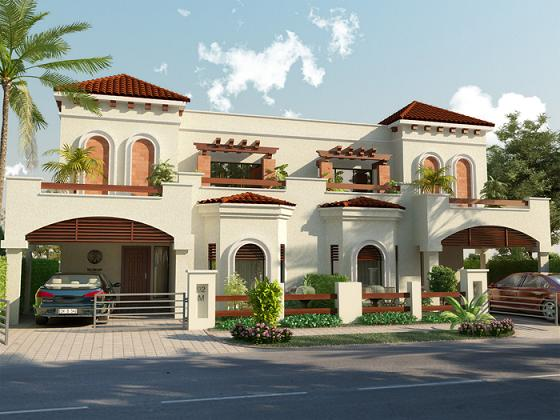 Park View Villas 3D Front View 10 Marla 4 beds House