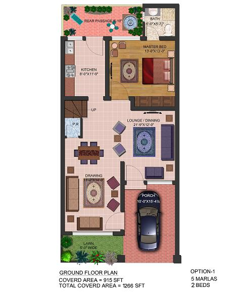 layout drawing 5 Marla Ground floor 2beds – Park view villas