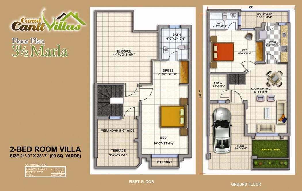 Cantt-Villas-Multan-Floor-Plan-3.5-Marlas-2-Bedrooms