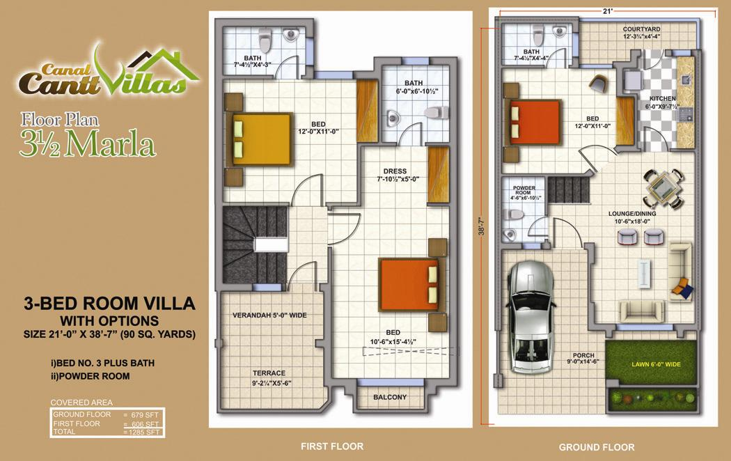 Cantt villas multan floor plan 3 5 marlas 3 bedrooms fjtown 3 bedroom villa floor plans