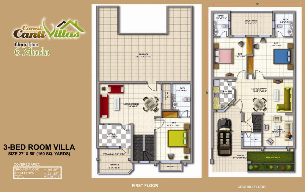 Cantt Villas Multan Floor Plan 6 Marlas 3 Bedrooms Fjtown