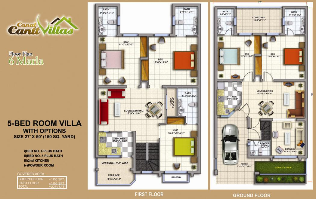 Cantt Villas Multan Floor Plan – 6 Marlas, 5 Bedrooms