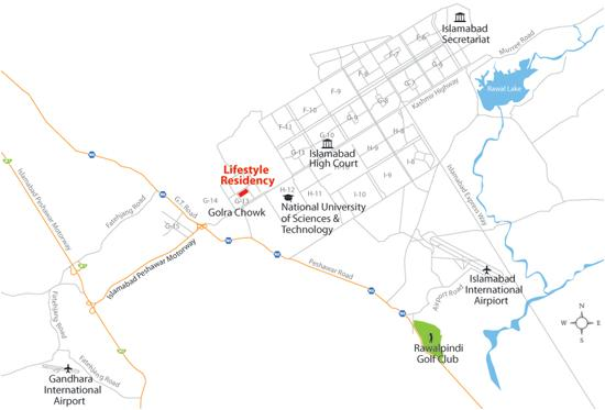Lifestyle residency apartments Islamabad – Location Map