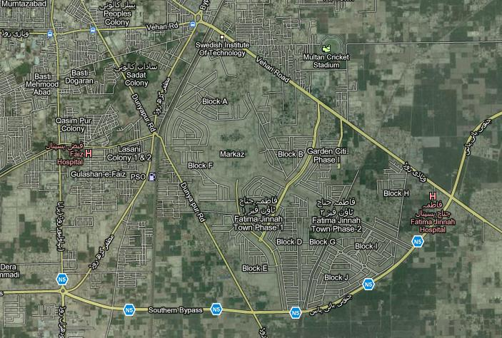 Fatima Jinnah Town Multan – Lattest Satellite Maps