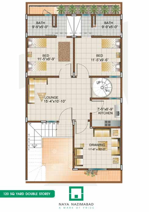 Front Elevation Of 120 Yards Houses : Bungalow sq yards double story first floor fjtown