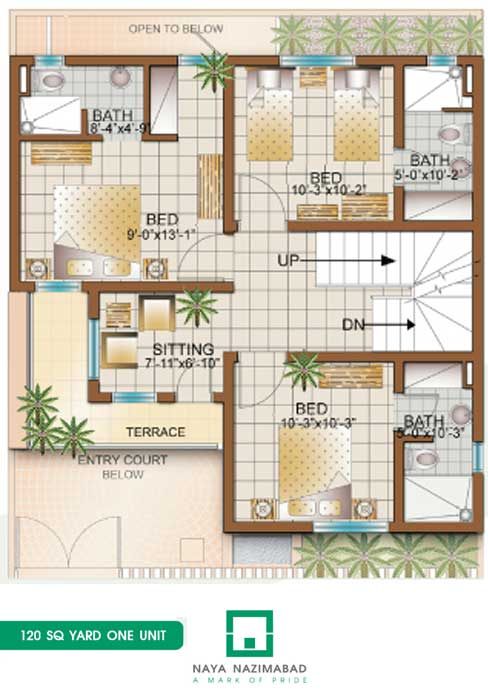 Bungalow 120 sq yards one unit ground floor fjtown for House map plan