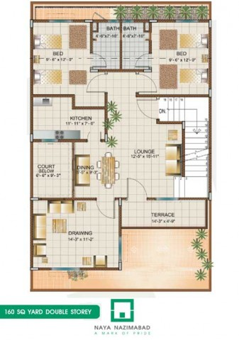 Bungalow 160 sq yards double story first floor real for 120 square yards floor plan
