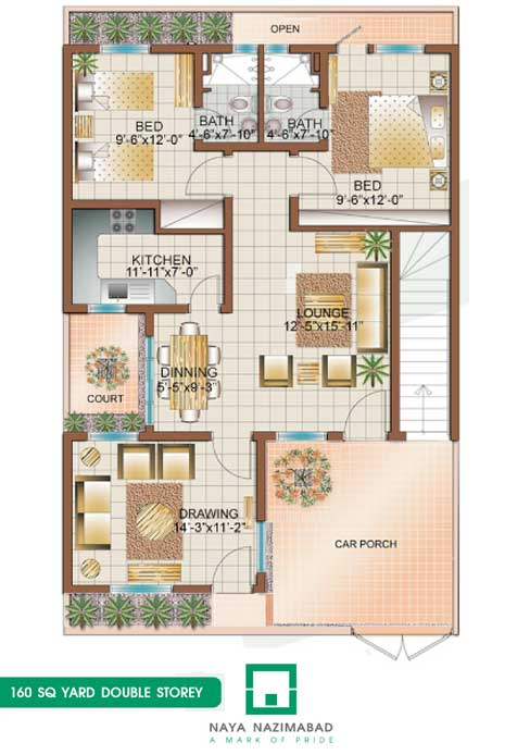 Bungalow 160 sq yards double story ground floor real for 120 square yards floor plan