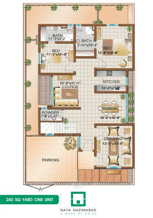 Bungalow 240 sq yards one unit ground floor fjtown for 120 yard house map