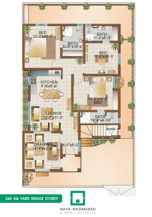 Bungalow 240 sq yards single story real estate housing for 120 square yards floor plan