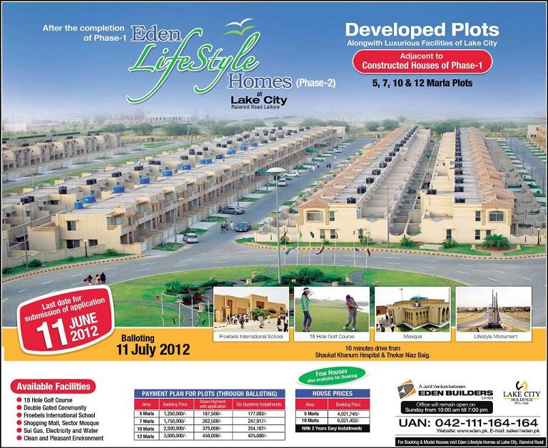 Eden LifeStyle Homes Phase-II at Lake City Lahore