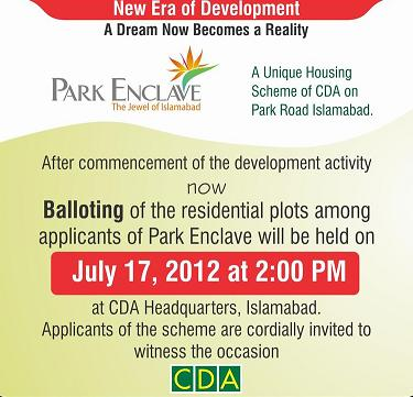 Park Enclave Housing Scheme Balloting in CDA Islamabad on 17/7/2012