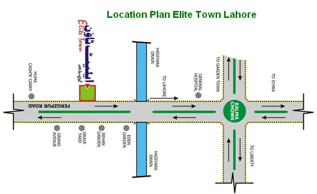 Elite Town Lahore Location Map