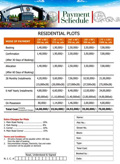 Gulberg Islamabad – Payment/Price Schedule Residential plots – fjtown