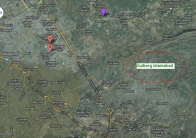 Gulberg Islamabad Satellite Map Real Estate Housing Town - Satellite location map
