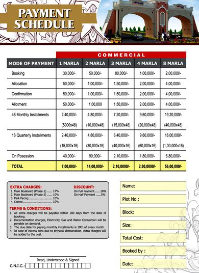 Elite Town Lahore Payment/Price Plan Residential & Commercial Plots
