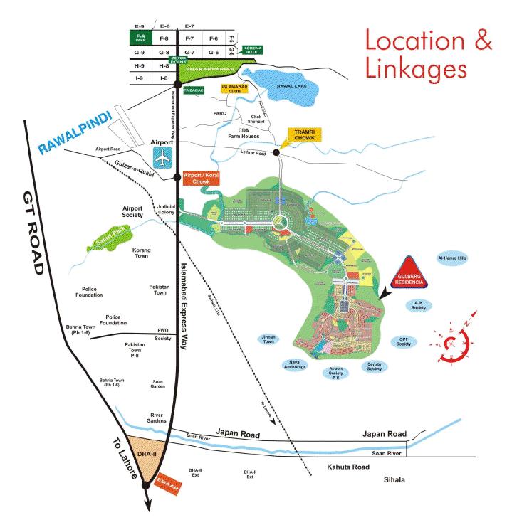 Islamabad Roads: Gulberg Islamabad Location And Linkage Map