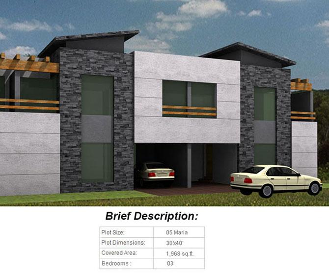 Citi Villas Gujranwala Floor Plan of 5 Marla House