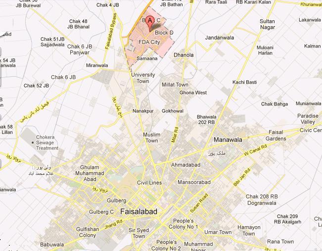 FDA City Faisalabad – Location Map