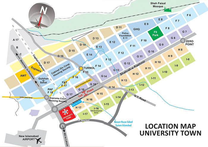 University Town Islamabad Location Map Real Estate