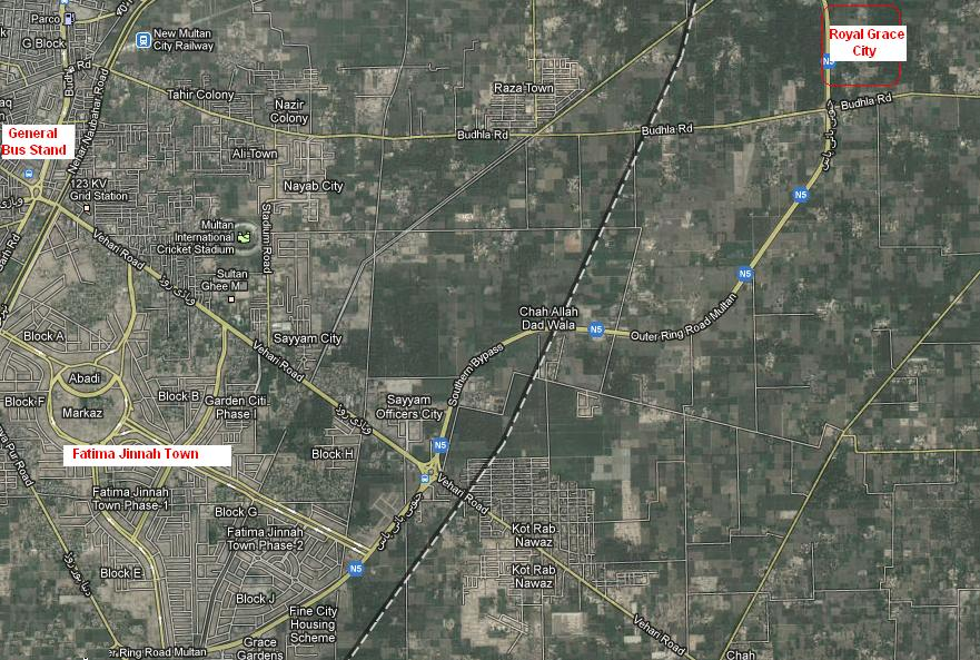 Royal Grace City & Fatima Jinnah Town Multan Satellite Map