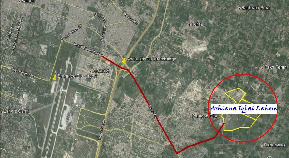 Ashiana Iqbal Housing Scheme Lahore - Location Map
