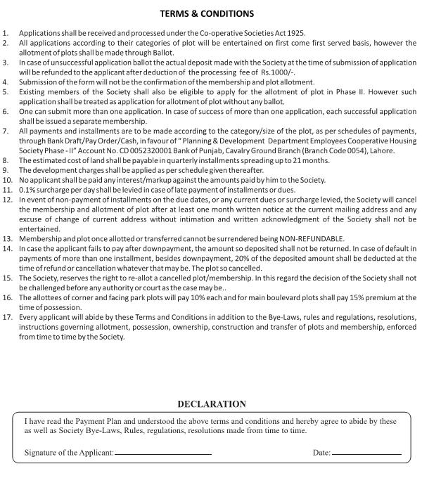 PDDECHS Phse II Lahore - Terms and Conditions