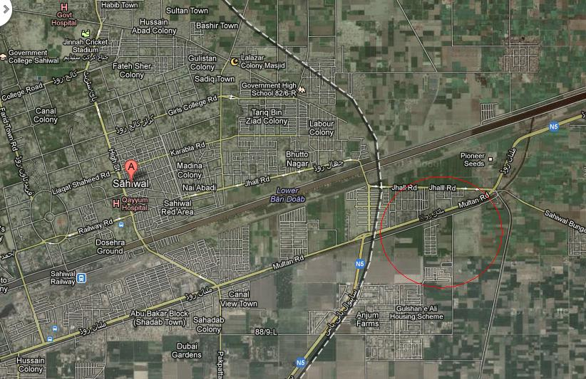 Satellite And Location Map Of Ashiana Housing Scheme Sahiwal - Satellite location map
