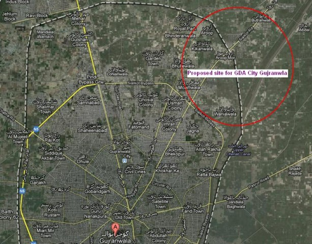GDA City Gujranwala - Proposed Location Plan/Map at Sialkot Road (village aroop and wanianwala)