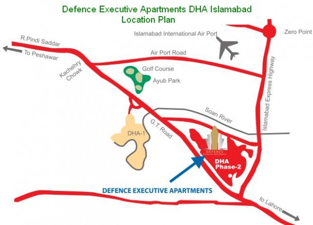 Defence Executive Apartments DHA Islamabad - Location Map