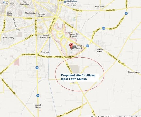 Proposed Location Map Allama Iqbal Town Multan