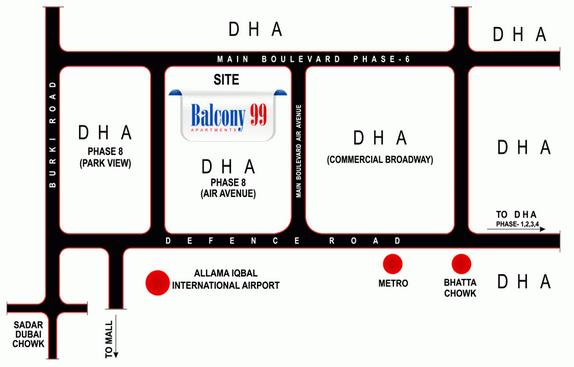 Balcony 99 Apartments DHA Lahore - Location Map