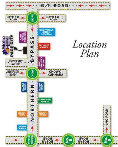 Metro Homes in Pace City Multan - Location Map