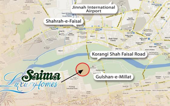 Saima Luxury Homes Karachi - Location Map