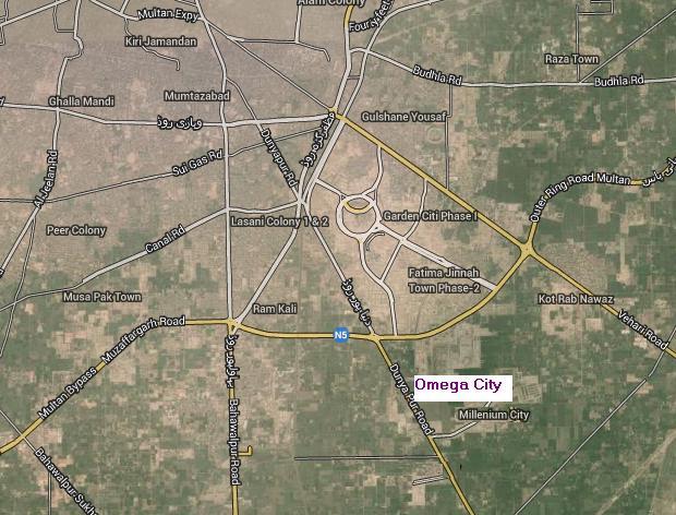 Satellite Location Map Of Omega City Multan Real Estate Housing - Satellite location map