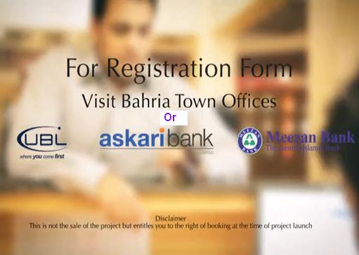 Bahria Town Karachi application and and fee deposit banks